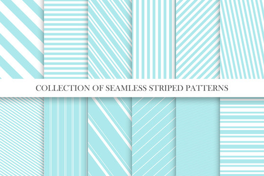 Collection of cute seamless striped patterns in turquoise colors. Delicate geometric repeatable backgrounds