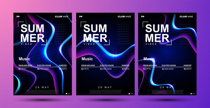 Electronic music festival poster design. Electro party flyer. Abstract gradient liquid shape. Modern club invitation template. Dance music event cover design.