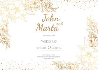 Wedding Invitation with Gold Flowers and gold geometric line design. background with geometric golden frame. Cover design with an ornament of golden leaves. vector eps8