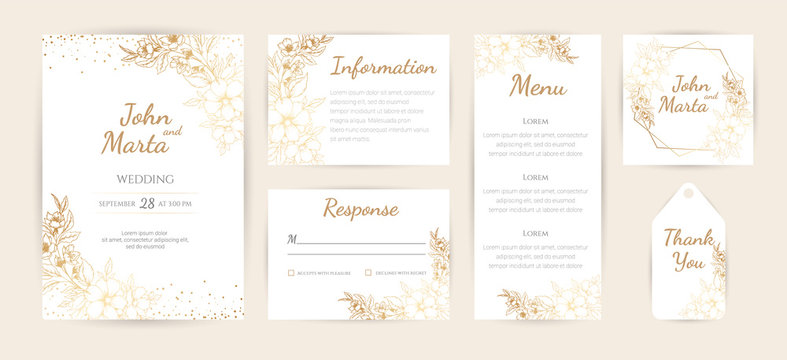 Wedding Invitation with Gold Flowers and gold geometric line design. background with geometric golden frame. Cover design with an ornament of golden leaves. vector eps10