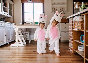 Wall Mural - Two toddler children with unicorn masks walking indoors at home.