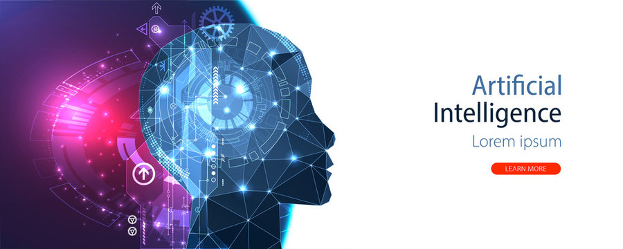 Artificial intelligence (AI) and big data concept. Machine cyber mind.  Humen face with binary data flow. Technology vector background.