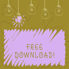 Text sign showing Free Download. Business photo showcasing Files Downloading Without Any Charges Online Technology