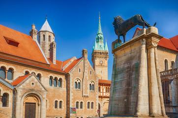 Braunschweiger Löwe mit Burg Dankwarderode und Rathaus, Niedersachsen Fototapete