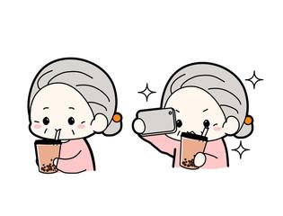 「流行りのタピオカミルクティー飲んだよ!インスタ映えー!」タピオカドリンク自撮りおばあちゃんイラスト