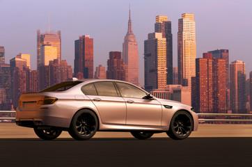 3D rendering of a sedan car infront of Manhattan skyline, USA