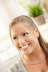 Woman smiling happily
