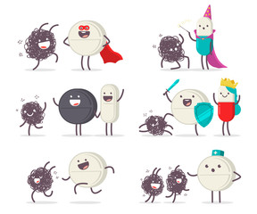 Medical tablet, pills and virus vector cartoon cute characters set isolated on a white background.