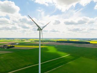 Wiatrak wiatraki elektrownia wiatrowa rzepak pole