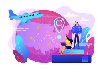 Worldwide travel, school adventure. Tourist trip, students on holidays. Educational tourism, international edu-tourism, best study tours concept. Bright vibrant violet vector isolated illustration