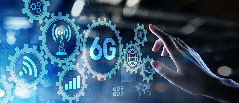 6G New generation telecommunication fast internet and technology concept on virtual screen.