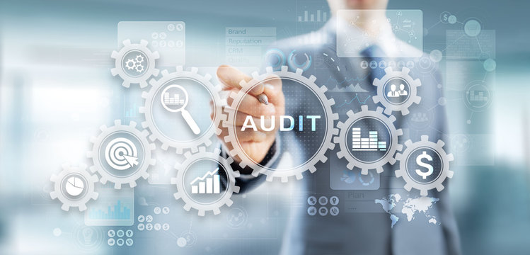 Audit - official financial examination for business as concept on virtual screen.