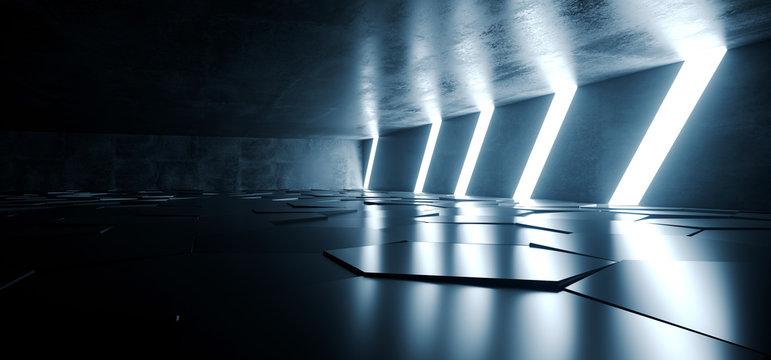 Sci Fi Futuristic Concrete Grunge Tunnel Hallway Reflective Garage Underground Garage Glowing Blue White Windows Led Lights Tiled Floor 3D Rendering