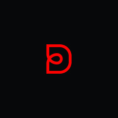 Creative Innovative Initial Letter logo DD D with Black Background