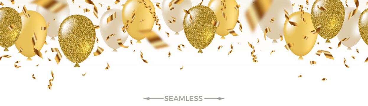 Celebratory seamless banner - white, yellow, glitter gold balloons and golden foil confetti. Vector festive illustration. Holiday design.