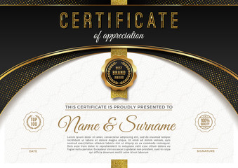 Certificate template with luxury golden elements. Diploma template design. Vector illustration.