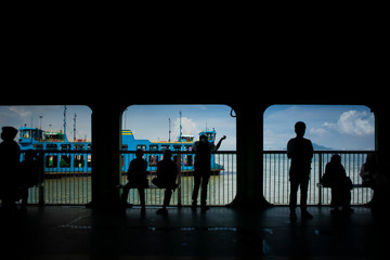 Peolple passengers on ferry from Butterworth to Penang