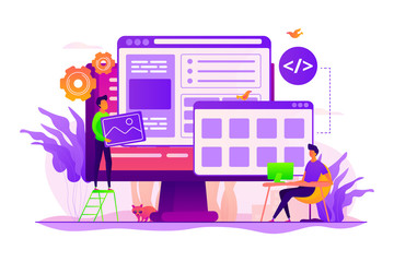 Developers create internet app. Software engineering, computer technology. Website development, web application coding, design for web browsers concept. Vector isolated concept creative illustration