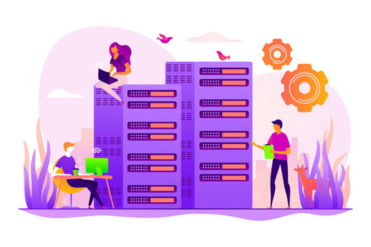 Server farm, mainframe maintenance. Datacenter diagnostics and support. System administration, network upkeeping, computer systems configuration concept. Vector isolated concept creative illustration