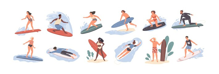 Collection of cute funny people in swimwear surfing in sea or ocean. Bundle of happy surfers in beachwear with surfboards isolated on white background. Colorful flat cartoon vector illustration.