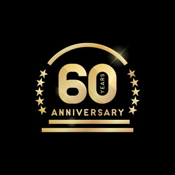 60th year anniversary golden emblem. Vector icon.