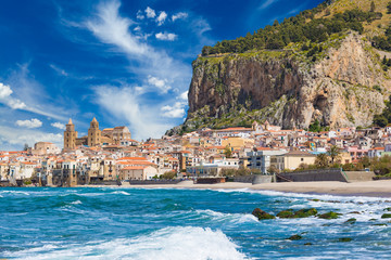 Foto auf Acrylglas Palermo Beautiful Cefalu, resort town on Tyrrhenian coast of Sicily, Italy