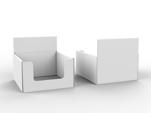 Blank counter top product display for mock up and branding. 3d render illustration.