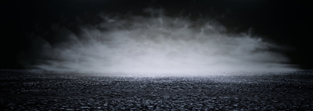 abstract dark concentrate floor scene with mist or fog, spotlight and display. banner
