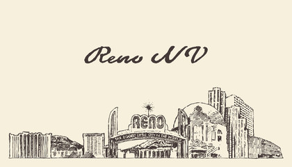 Wall Mural - Reno skyline Nevada United States USA draw vector