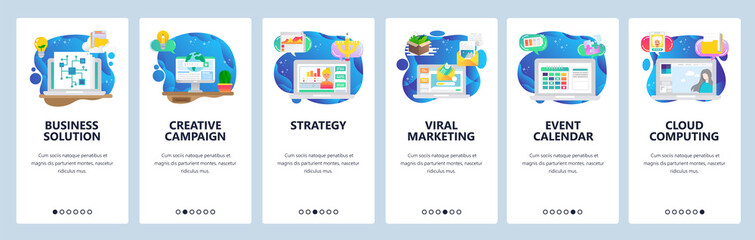 Mobile app onboarding screens. Business plan and strategy, viral marketing, email, event calendar. Menu vector banner template for website and mobile development. Web site design flat illustration