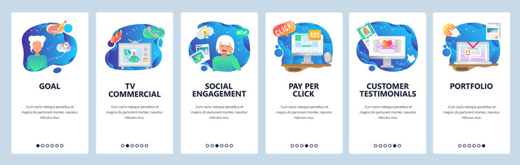 Mobile app onboarding screens. Pay per click, marketing, social engagement, customer review. Menu vector banner template for website and mobile development. Web site design flat illustration