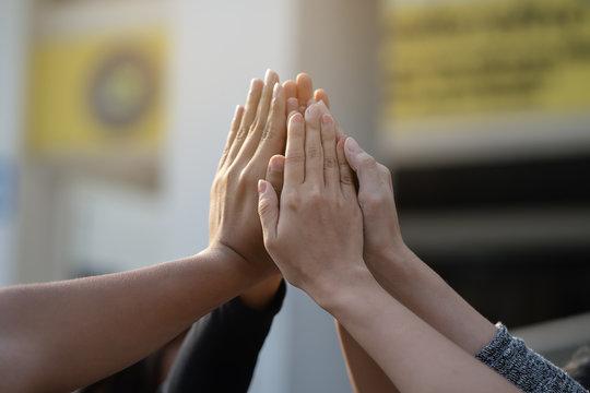 hand collaboration teamwork concept