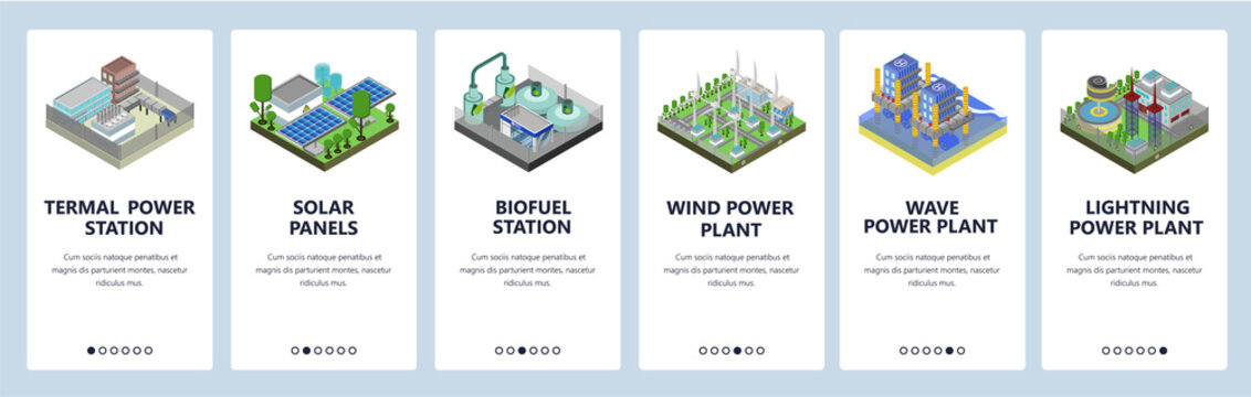 Mobile app onboarding screens. Energy generation industry, power plant, solar panels, wind fields. Menu vector banner template for website and mobile development. Web site design flat illustration