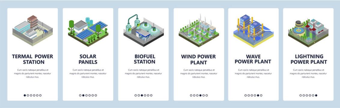 Mobile app onboarding screens. Energy generation industry, power plant, solar panels, wind fields. Menu vector banner template for website and mobile development. Web site design flat illustration