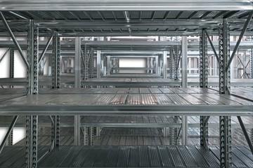 Empty metal shelf in storage room