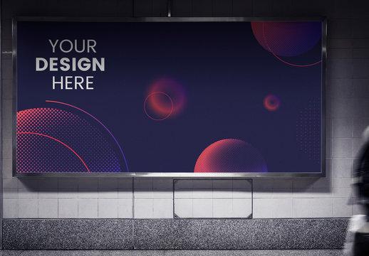 Horizontal Billboard in Subway Station Mockup