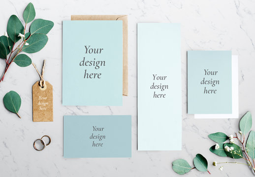 Textured Stationery Flat Lay Mockup on Marble