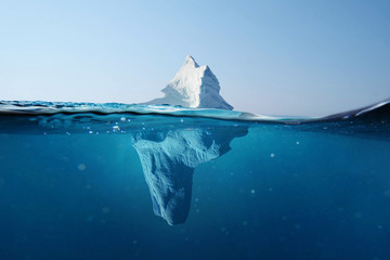 Iceberg in the ocean. Beautiful view under water. Global warming. Melting glacier. Hidden Danger Concept