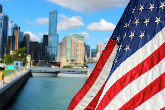 chicago skyline with american flag