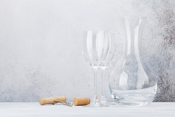 Wine glasses and decanter