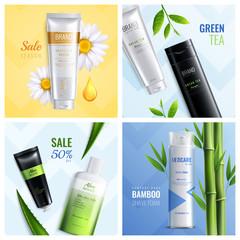 Organic Cosmetics Ingredients Icon Set