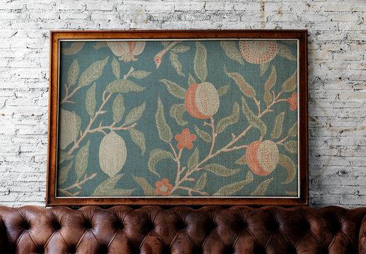 Textured Art Frame on Brick Wall Mockup