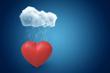 3d rendering of red valentine heart under raining cloud on blue gradient background with copy space.