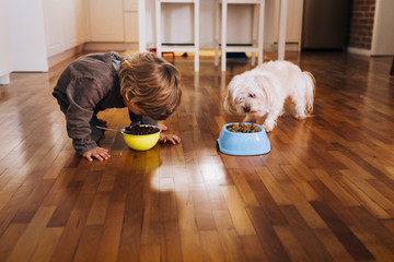 Boy and dog eating food from bowl