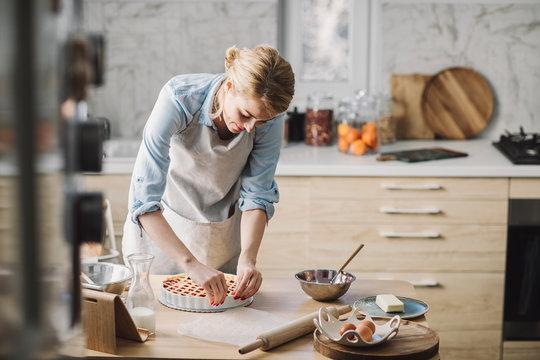 Woman Making a Pie