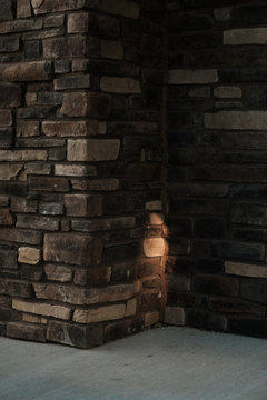 Light on the side of brick