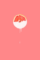 Grapefruit Dripping with Paint
