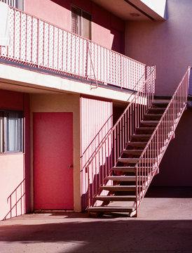 Pink apartment complex