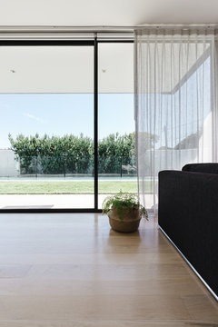 View of the backyard from a minimalist living room through large glass sliders