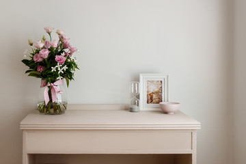 interior, furniture and flowers